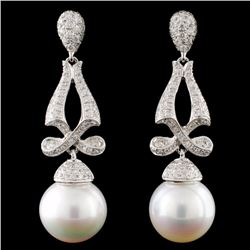 14K Gold South Sea Pearl & 1.18ctw Diamond Earring