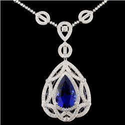 18K Gold 17.41ct Tanzanite & 5.05ctw Diamond Neckl