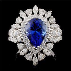 18K W Gold 3.21ct Tanzanite & 1.99ct Diamond Ring