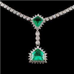 18K White Gold 1.93ct Emerald & 5.09ct Diamond Nec