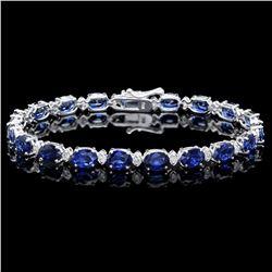 `14k Gold 15ct Sapphire 0.60ct Diamond Bracelet