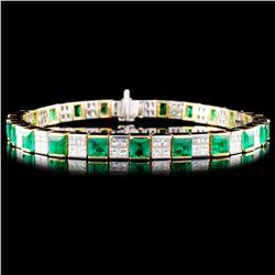 18K Gold 6.21ct Emerald & 3.84ctw Diamond Bracelet