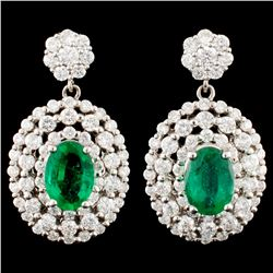 14K Gold 1.39ct Emerald & 1.52ctw Diamond Earrings