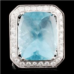 18K Gold 20.84ct Aquamarine & 1.68ctw Diamond Ring