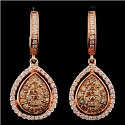 14K Gold 0.63ctw Fancy Diamond Earrings