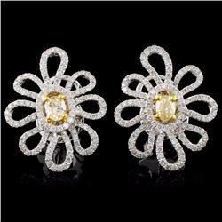 18K White Gold 1.46ctw Fancy Color Diamond Earring