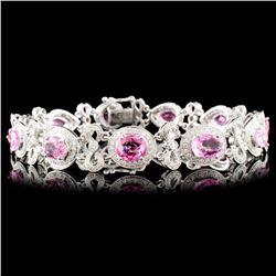 18K Gold 8.09ctw Spinel & 1.40ctw Diamond Bracelet