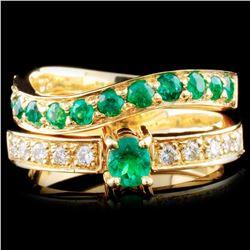 18K Gold 0.73ctw Emerald & 0.20ctw Diamond Ring