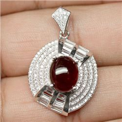 STERLING SILVER RED HESSONITE GARNET PENDANT