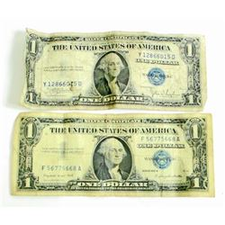 LOT OF 2 ONE DOLLAR SILVER CERTIFICATES - BLUE SEAL
