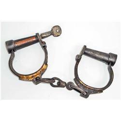 FOLSOM PRISON CAST IRON HANDCUFFS W/ KEY