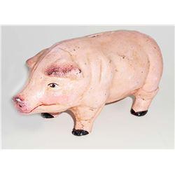 CAST IRON PINK PIG FIGURAL STILL BANK