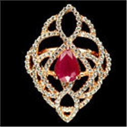 STERLING SILVER LADIES RUBY RING - SIZE 7.5