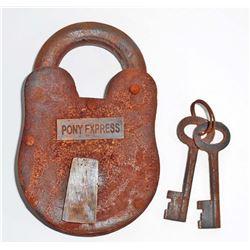 CAST IRON PONY EXPRESS PADLOCK W/ KEYS