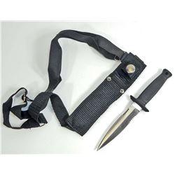 FIXED BLADE DEFENSE KNIFE W/ SHEATH & SHOULDER HARNESS