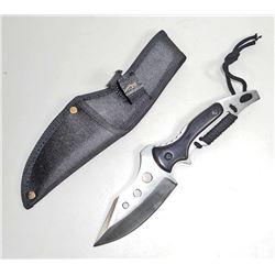 MEDIUM SKINNING KNIFE W/ BLACK WOOD HANDLE & SHEATH