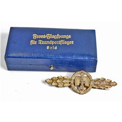 CASED GERMAN NAZI LUFTWAFFE FIGHTER FLIGHT CLASP IN GOLD
