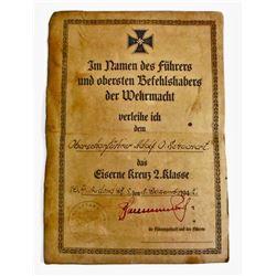 GERMAN NAZI 2ND CLASS IRON CROSS AWARD DOCUMENT
