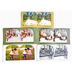 LOT OF 5 VINTAGE BLACK AMERICANA STEREOVIEW PHOTO CARDS