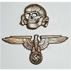 GERMAN NAZI WAFFEN SS OFFICERS VISOR CAP EAGLE AND SKULL