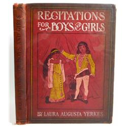 """1904 """"RECITATIONS FOR BOYS AND GIRLS"""" HARDCOVER BOOK"""