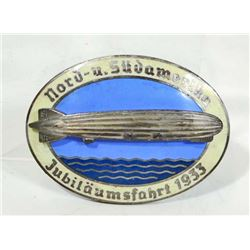 GERMAN NAZI GRA ZEPPELIN AIR SHIP COMMEMORATIVE LIGHT BADGE
