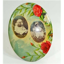 LARGE VICTORIAN CELLULOID BUTTON PICTURE OF TWO BABIES