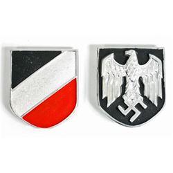 PAIR OF GERMAN NAZI ARMY AFRIKA KORPS PITH HELMET SHIELDS
