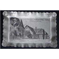 VINTAGE PASADENA CALIFORNIA CONGREGATIONAL CHURCH ADVERTISING PIN TRAY