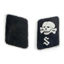 GERMAN NAZI WAFFEN SS TOTENKOPF CONCENTRATION CAMP OFFICERS COLLAR TABS