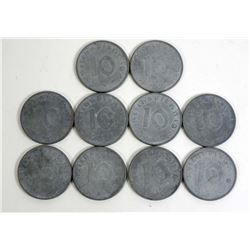 LOT OF 10 VINTAGE GERMAN NAZI COINS