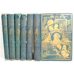 """ANTIQUE 1870 """"THE WORKS OF CHARLES DICKENS"""" HARDCOVER BOOKS - 6 VOLUME SET"""