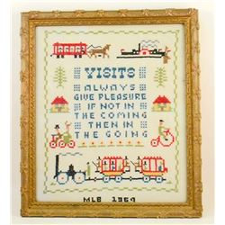 1969 CROSS STITCH SAMPLER IN GOLD GILT FRAME