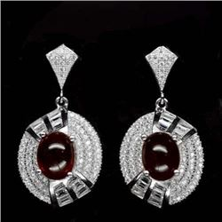 PAIR OF STERLING SILVER RED HESSONITE GARNET EARRINGS