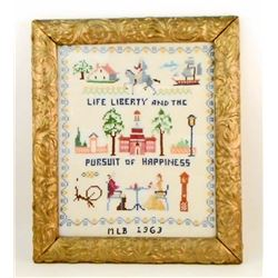 1963 CROSS STITCH SAMPLER IN GOLD GILT FRAME