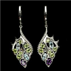 PAIR OF STERLING SILVER AMETHYST, TOPAZ & PERIDOT EARRINGS