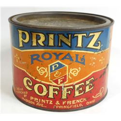 VINTAGE PRINTZ ROYAL COFFEE ADVERTISING TIN