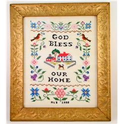 1958 CROSS STITCH SAMPLER IN GOLD GILT FRAME