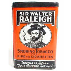 ANTIQUE SIR WALTER RALEIGH SMOKING TOBACCO ADVERTISING POCKET TIN