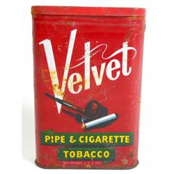 ANTIQUE VELVET SMOKING TOBACCO ADVERTISING POCKET TIN