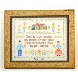 1965 CROSS STITCH SAMPLER IN GOLD GILT FRAME
