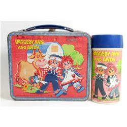 1973 ALADDIN RAGGEDY ANN AND ANDY METAL LUNCHBOX W/ THERMOS