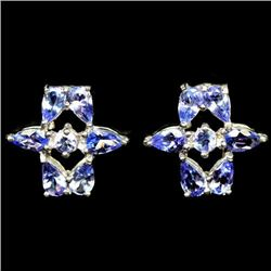PAIR OF WHITE GOLD OVER STERLING SILVER BLUE TANZANITE EARRINGS