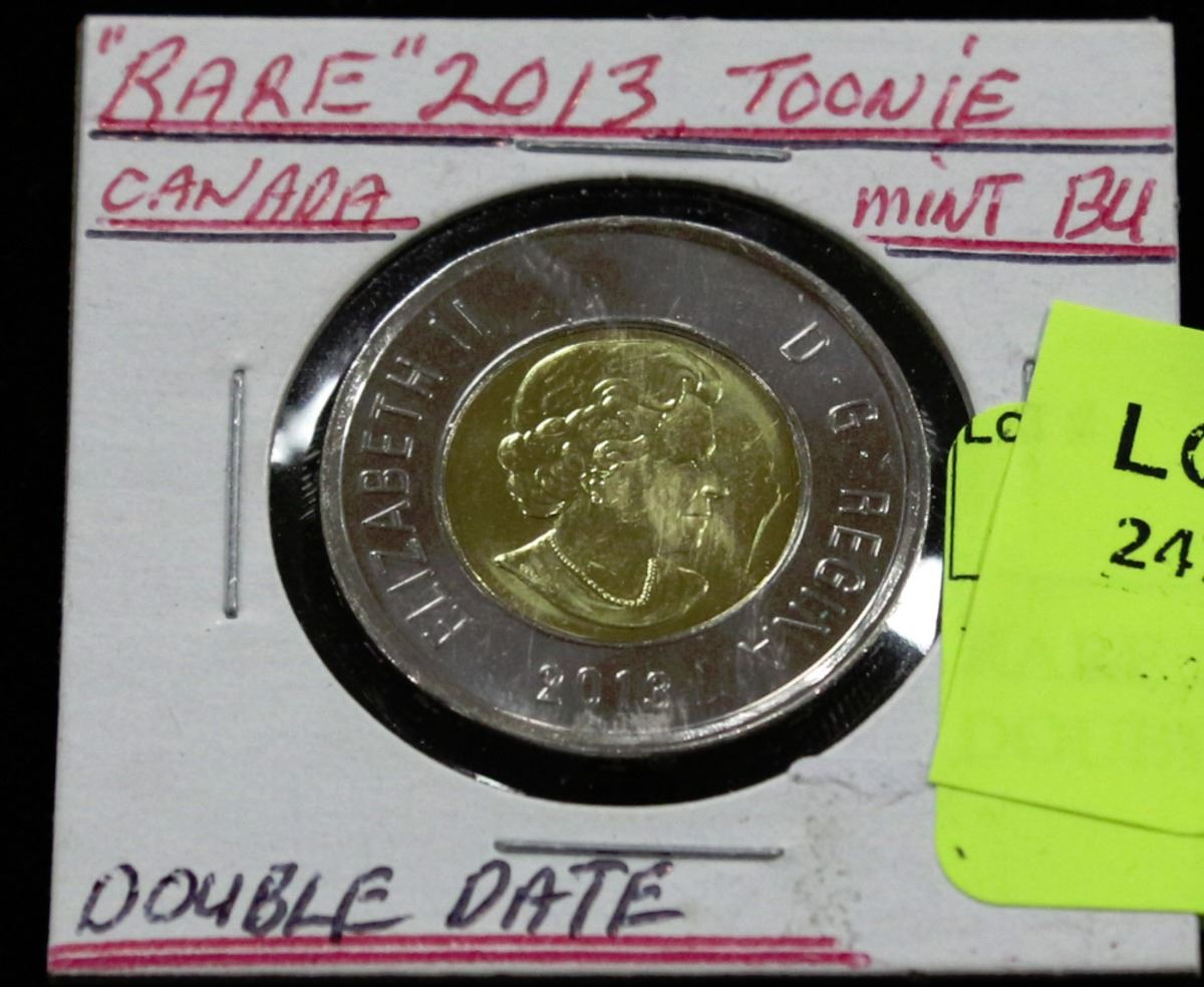 RARE 2013 TOONIE ERROR COIN DOUBLE DATE