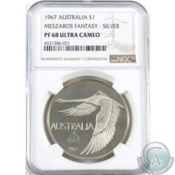 Australia 1967 $1, Meszaros Fantasy Type. NGC Certified PF 68 Ultra Cameo. This Rare coin Proof Patt