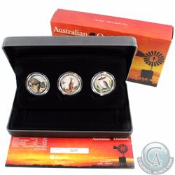 Australia Perth Mint Issue 2012 Australian Outback 3-coin Coloured 1/2oz. Silver Coin Collection (TA