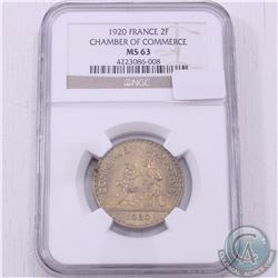 France 1920 2 Francs Chamber of Commerce NGC Certified MS-63