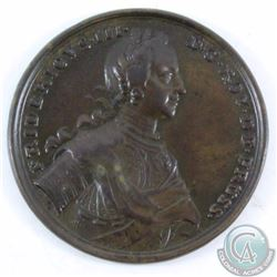 Germany 1758 Prussia Bronze Medal, 40mm, commemorating regin Extra Fine.