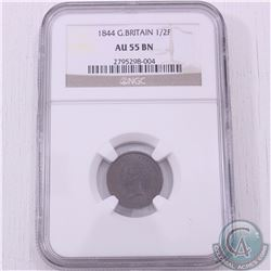 Great Britain 1844 1/2 Farthing NGC Certified AU-55; Brown