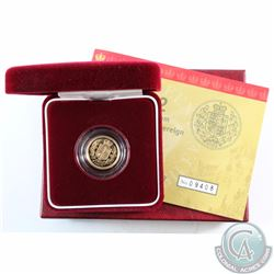 Great Britain 2002 Gold Proof Half Sovereign featuring the Crowned Shield reverse design. Coin is li